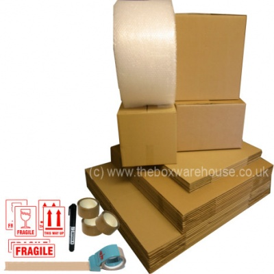 Medium house moving boxes & packaging kit