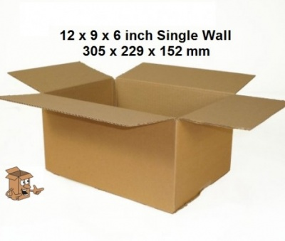 A4 Cardboard boxes 12x9x6″ sgl courier postal