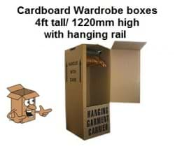 Cardboard wardrobe boxes, with easy carry handles